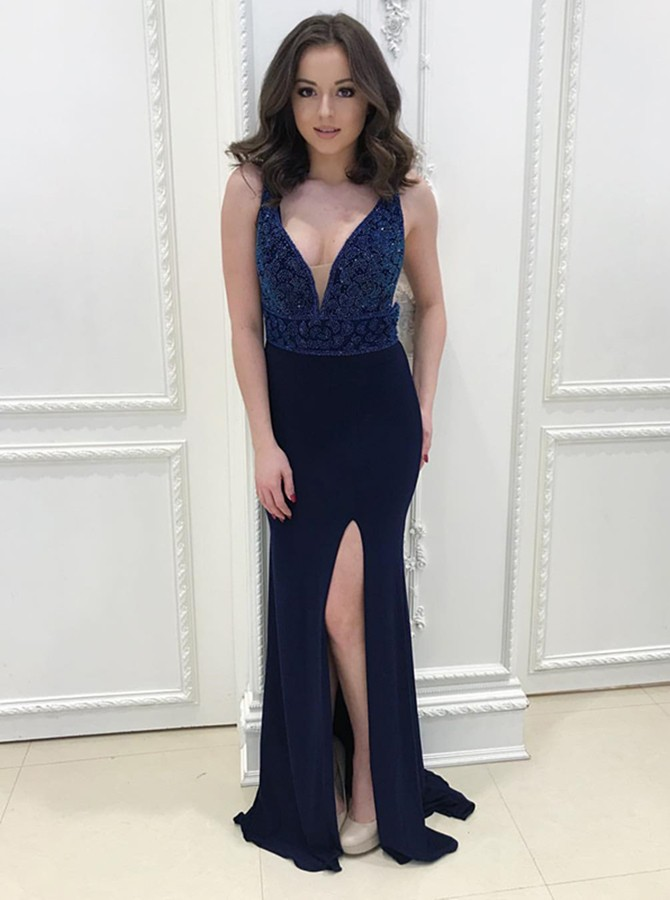 Mermaid V-Neck Floor-Length Navy Blue Prom Dress with Beading Split