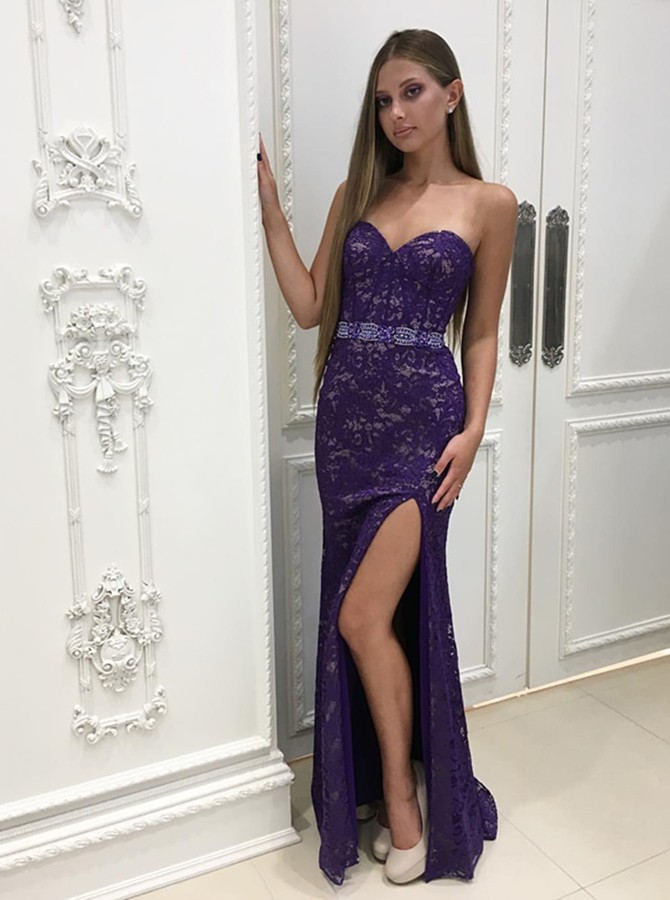 Mermaid Sweetheart Floor-Length Purple Lace Prom Dress with Split
