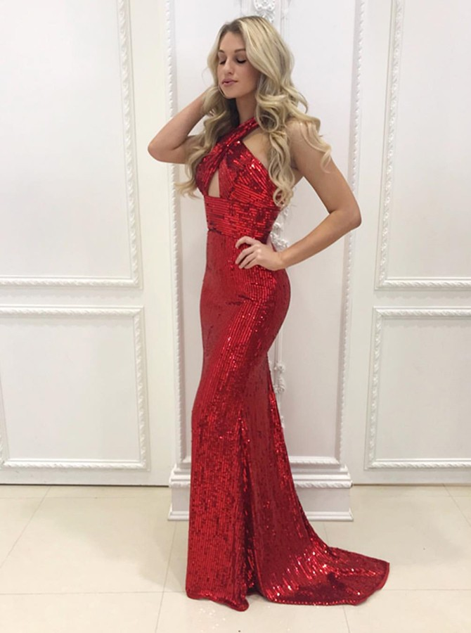 Mermaid Halter Backless Sweep Train Red Sequined Prom Dress