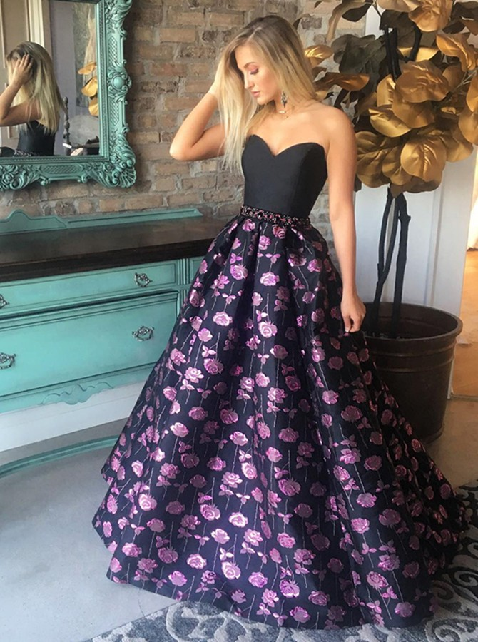 A-Line Sweetheart Floor-Length Black Printed Prom Dress with Beading