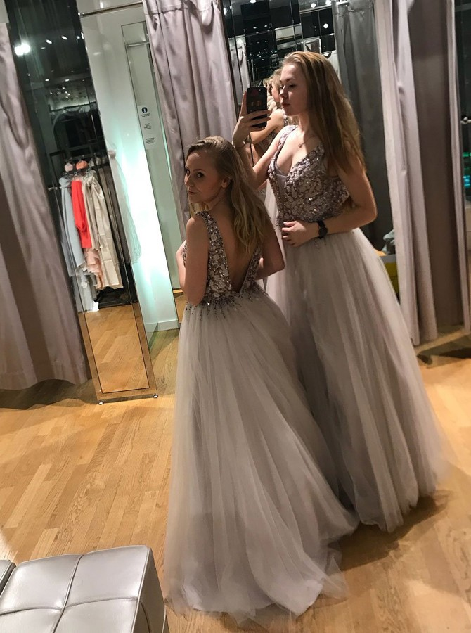 A-Line V-Neck Backless Floor-Length Light Grey Prom Dress with Beading