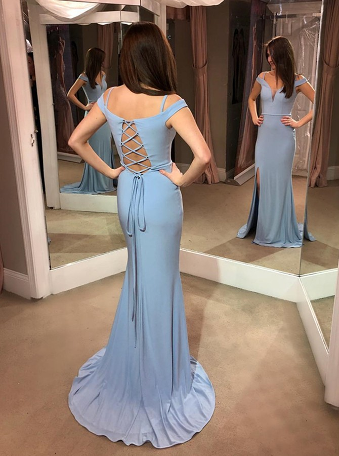 Mermaid Off-the-Shoulder Lace Up Sweep Train Light Blue Prom Dress with Split