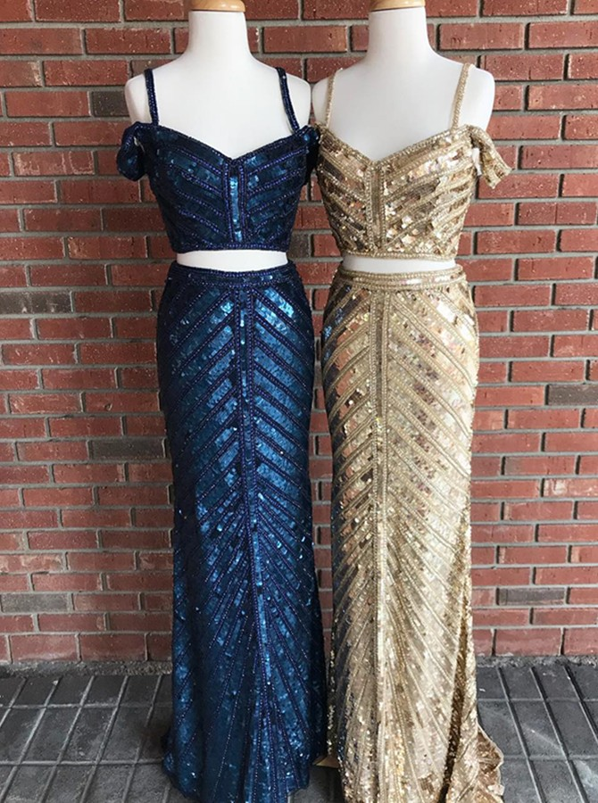 Two Piece Off-the-Shoulder Sweep Train Dark Blue Sequined Prom Dress