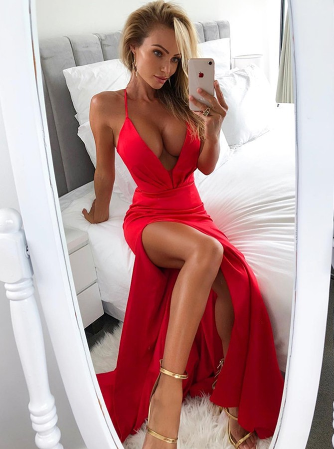 Mermaid Spaghetti Straps Floor-Length Red Prom Dress with Split Ruched