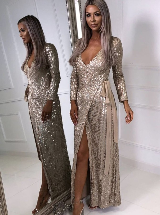 Sheath V-Neck Long Sleeves Champagne Sequined Prom Dress with Split