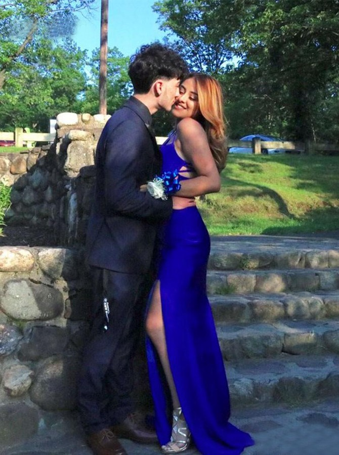 Two Piece V-Neck Sweep Train Royal Blue Prom Dress with Split
