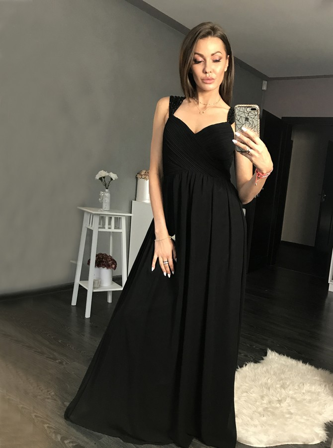 A-Line Straps Floor-Length Black Prom Dress with Beading Ruched
