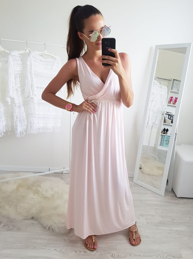 A-Line V-Neck Ankle-Length Pearl Pink Prom Dress with Pleats