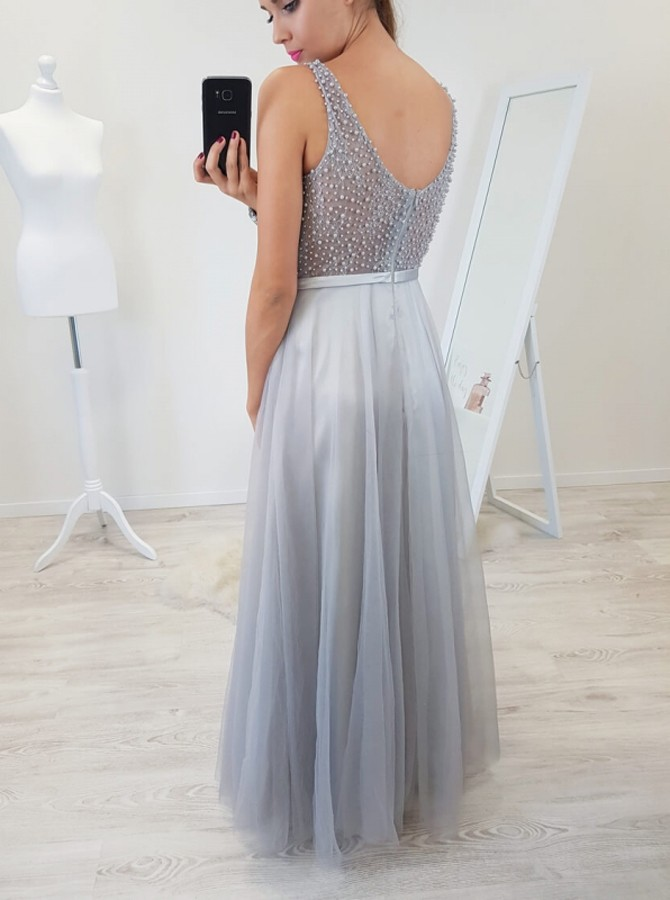A-Line Scoop Floor-Length Light Grey Prom Dress with Beading Sash