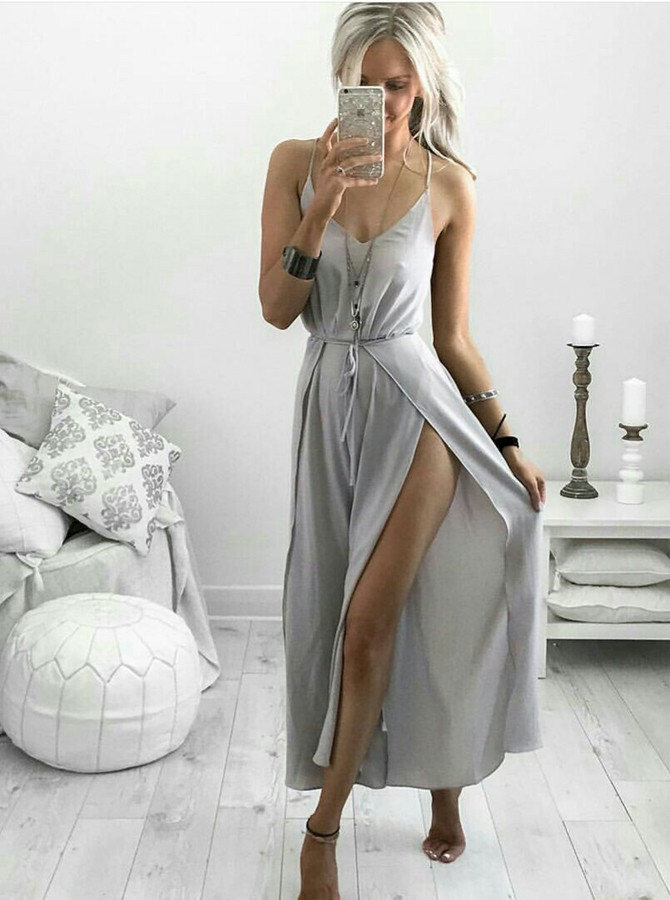 Sheath Spaghetti Straps Ankle-Length Light Grey Prom Dress with Split