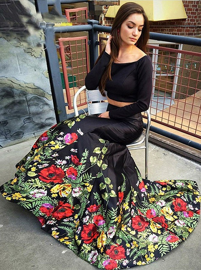 Two Piece Off-the-Shoulder Long Sleeves Black Printed Prom Dress