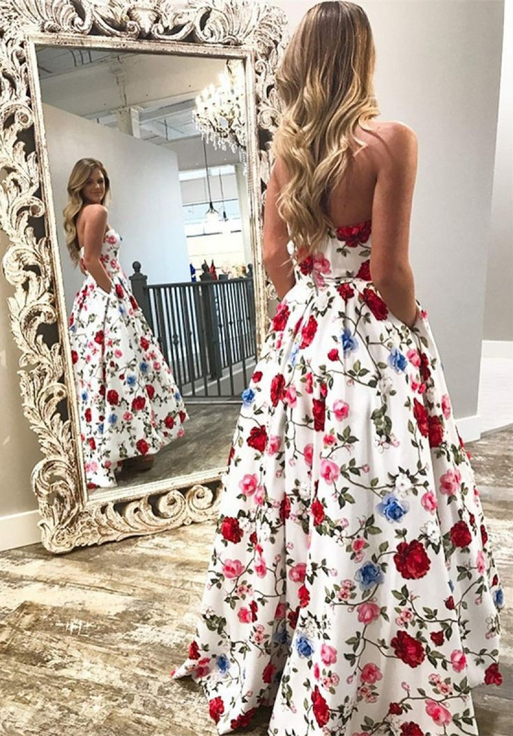 A-Line Strapless Backless High Low White Printed Prom Dress with Pockets