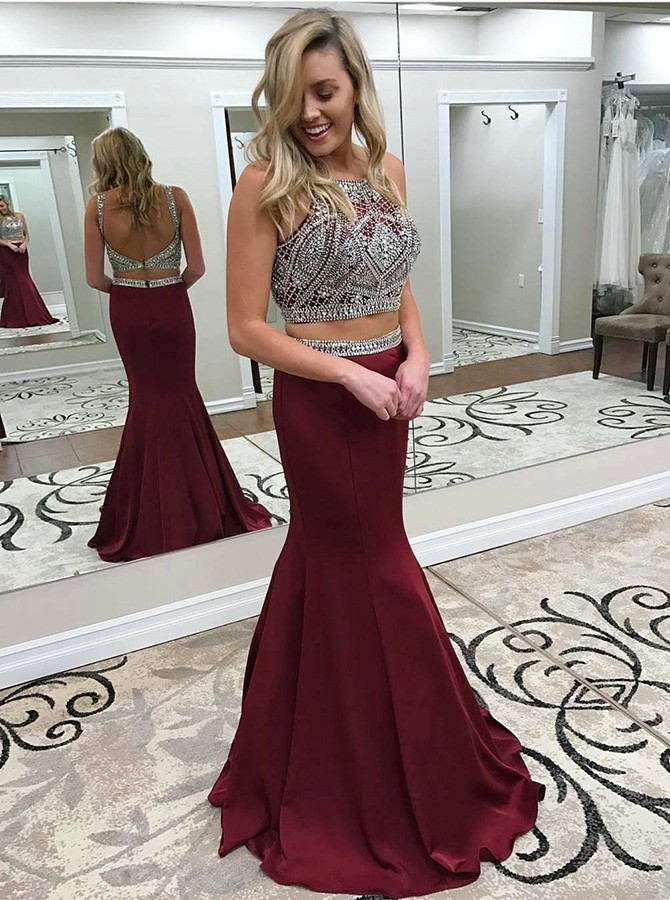 Two Piece Crew Backless Sweep Train Burgundy Prom Dress with Beading