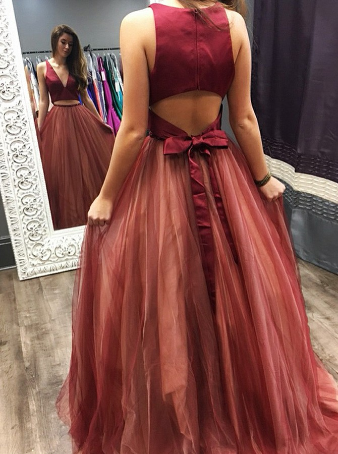 Two Piece V-Neck Open Back Sweep Train Dark Red Prom Dress with Beading