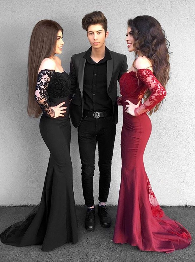 Mermaid Off-the-Shoulder Long Sleeves Black Prom Dress with Appliques