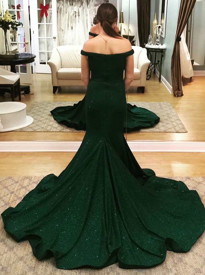 Mermaid Off-the-Shoulder Sweep Train Dark Green Prom Dress with Sequins