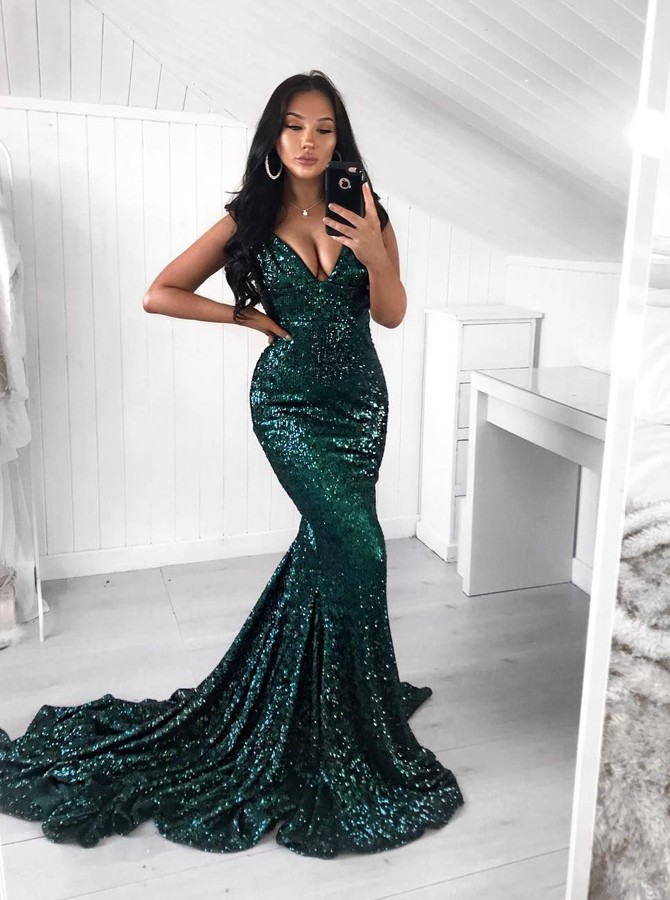 fcaabcefd3d7 ... Mermaid V-Neck Sweep Train Dark Green Sequined Prom Dress