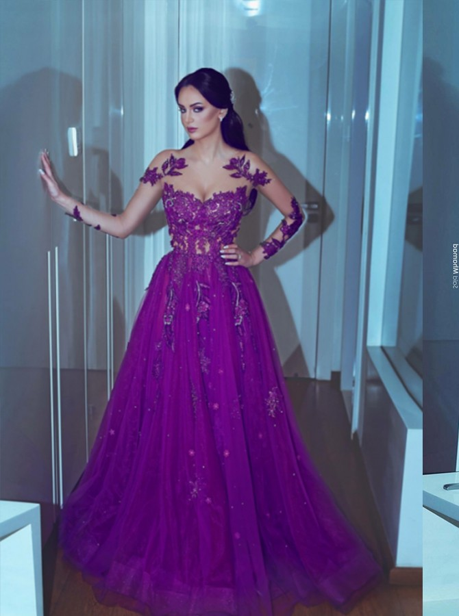 A-Line Crew Long Appliques Prom Dress Purple Beading Evening Dress with long Sleeves