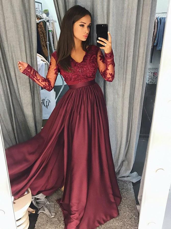 A-Line V-Neck Burgundy Split Prom Dress with Appliques Long Sleeves