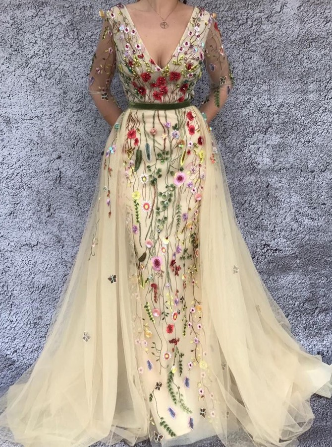 Mermaid V-Neck Long Sleeves Beige Detachable Prom Dress with Appliques