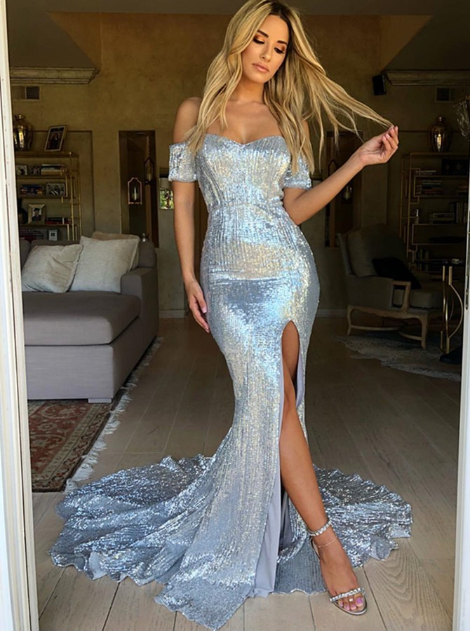 Mermaid Off-the-Shoulder Short Sleeves Sweep Train Silver Prom Dress with Split