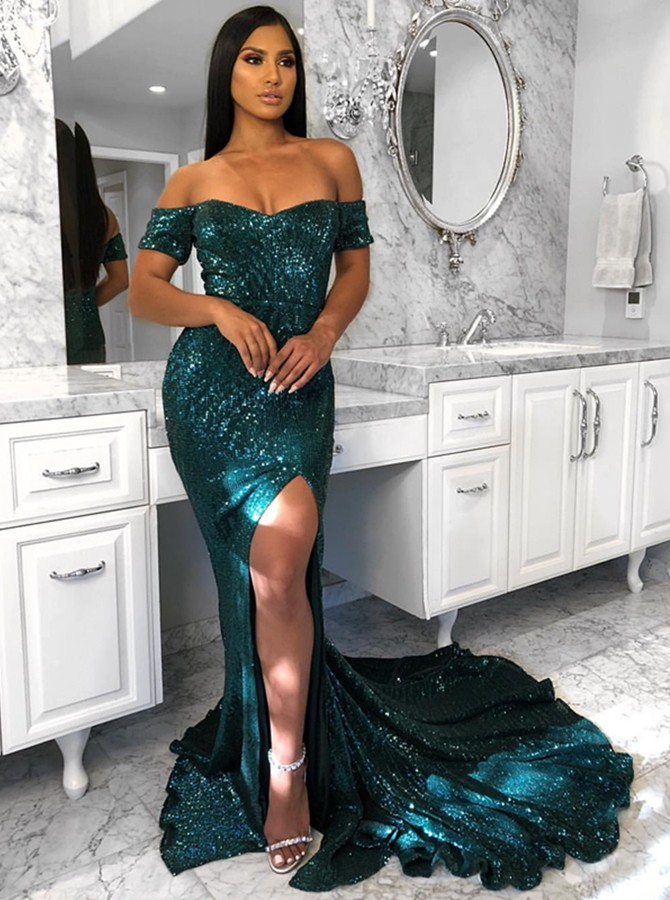 Mermaid Off-the-Shoulder Sweep Train Dark Green Prom Dress with Split