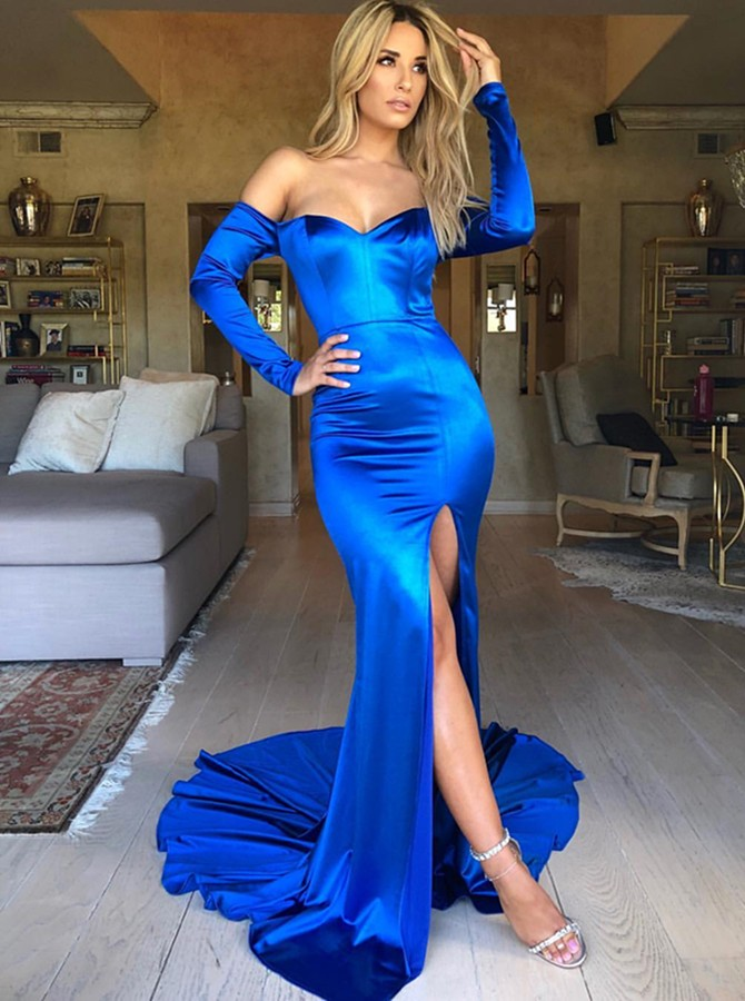 Mermaid Off-the-Shoulder Long Sleeves Sweep Train Royal Blue Prom Dress with Split