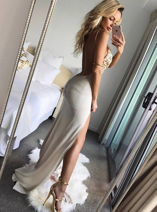 Mermaid Spaghetti Straps Backless Sweep Train White Prom Dress with Beading Split