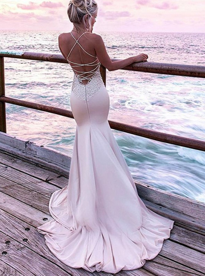 Mermaid Spaghetti Straps Sweep Train Pink Prom Dress with Appliques