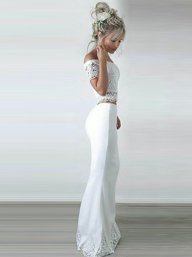 Two Piece Off-the-Shoulder Short Sleeves Floor-Length White Prom Dress with Lace