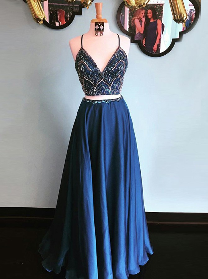 Two Piece Spaghetti Straps Floor-Length Navy Blue Prom Dress with Beading