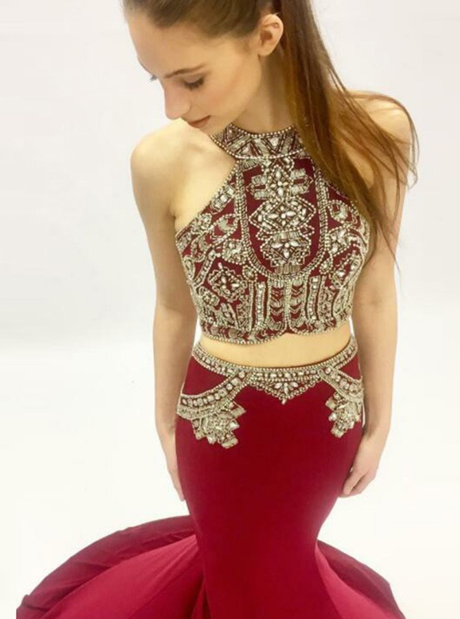 Two Piece High Neck Sweep Train Burgundy Prom Dress with Beading