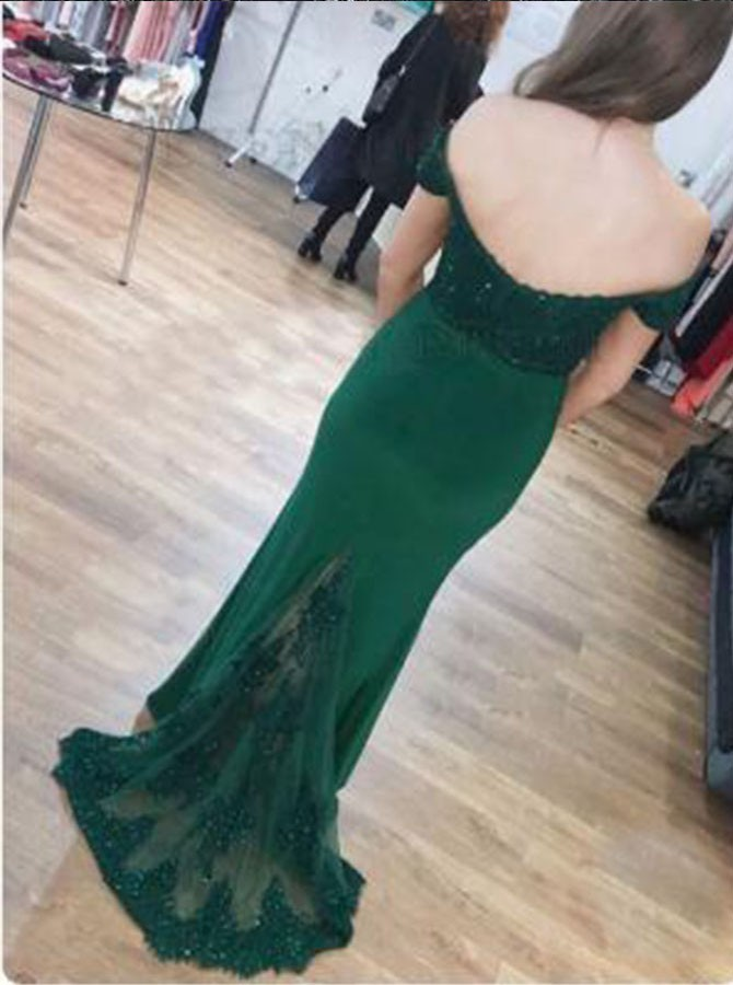 Mermaid Off-the-Shoulder Dark Green Prom Dress with Appliques Sequins