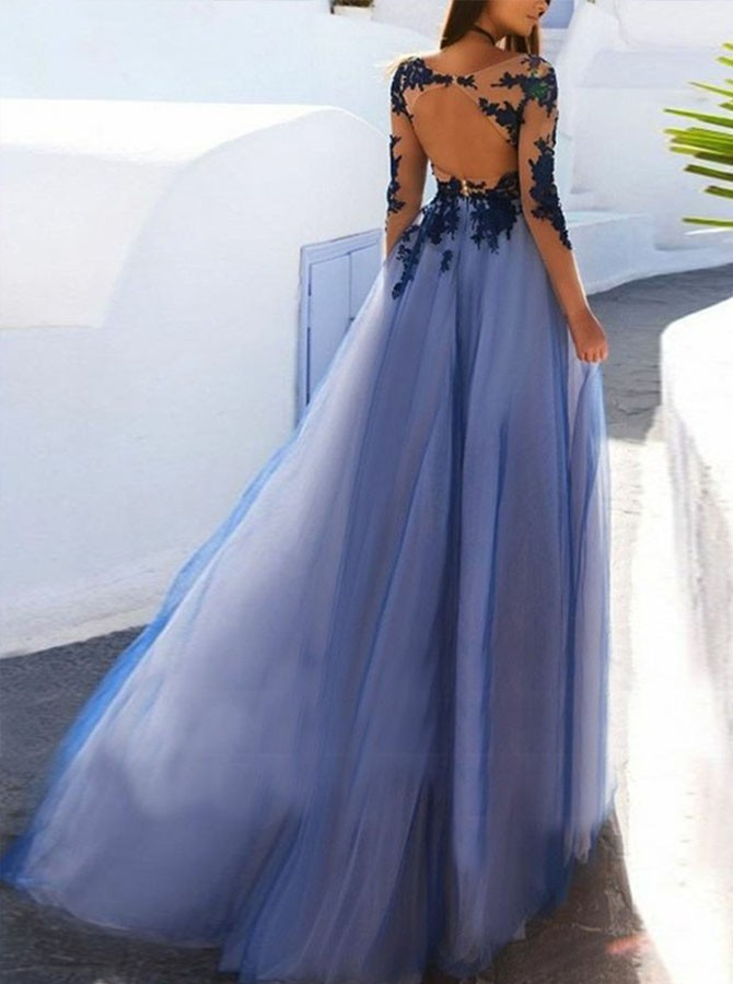 A-Line Bateau Long Sleeves Open Back Dark Blue Prom Dress with Appliques
