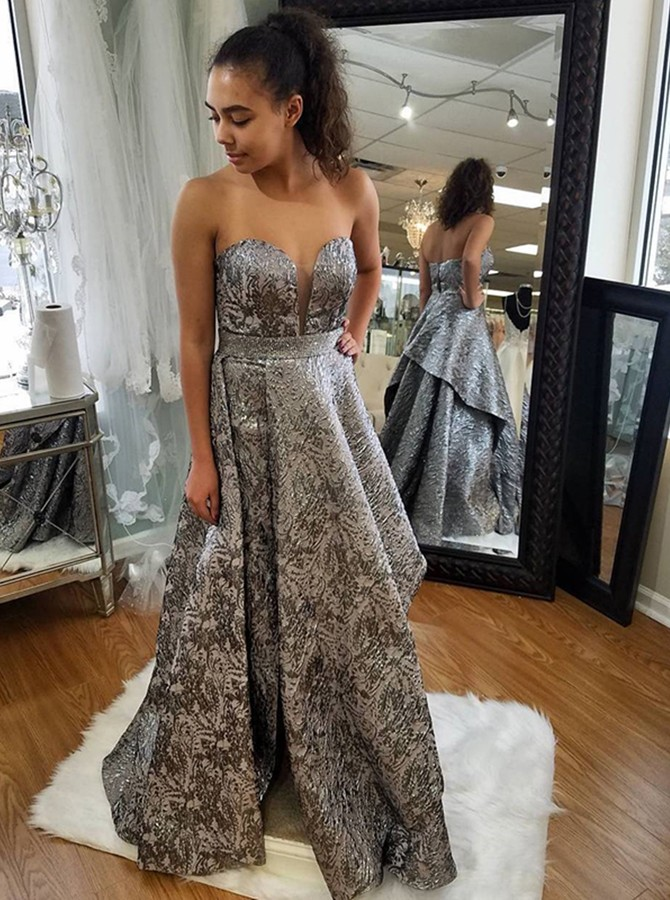 A-Line Sweetheart Floor-Length Silver Printed Satin Prom  Dress