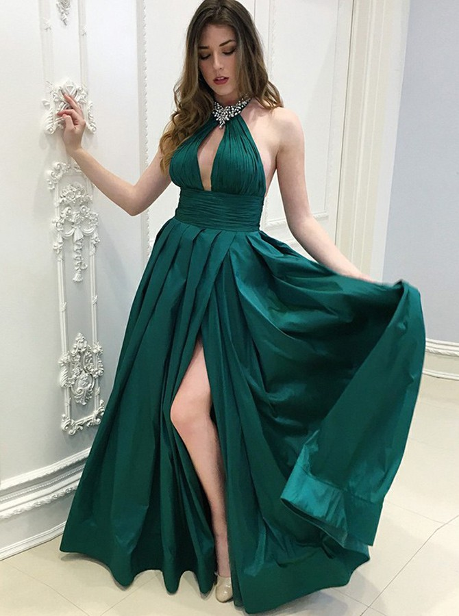 A-Line Halter Backless Floor-Length Dark Green Pleated Prom Dress with Beading