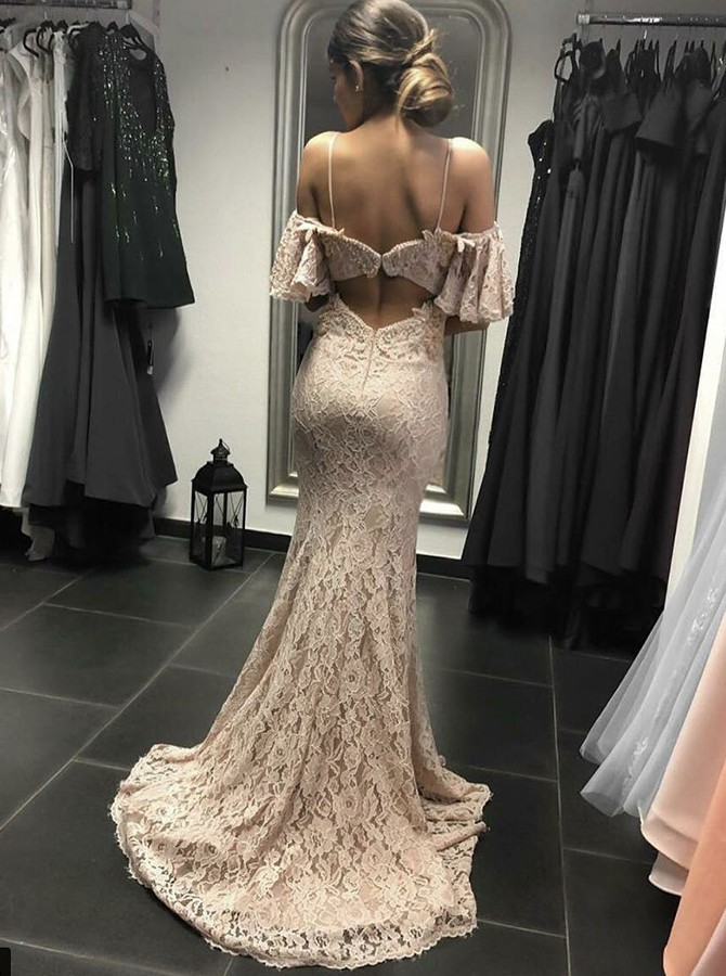 Mermaid Spaghetti Straps Cold Shoulder Lace Sweep Train Prom Dress