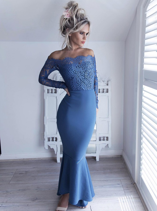 Mermaid Off-the-Shoulder Long Sleeves High Low Blue Prom Bridesmaid Dress with Lace Bodice