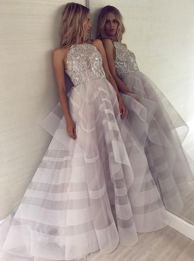 A-Line Halter Backless Organza Grey Wedding Dress with Beading