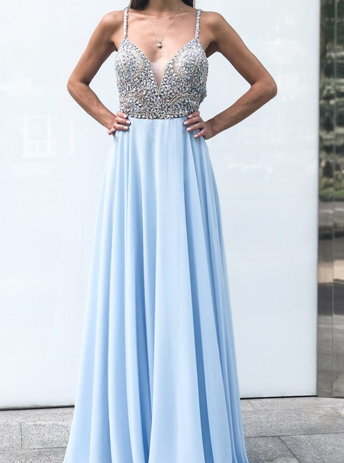 Spaghetti Straps Long A-Line  Prom Dress with Backless Beading