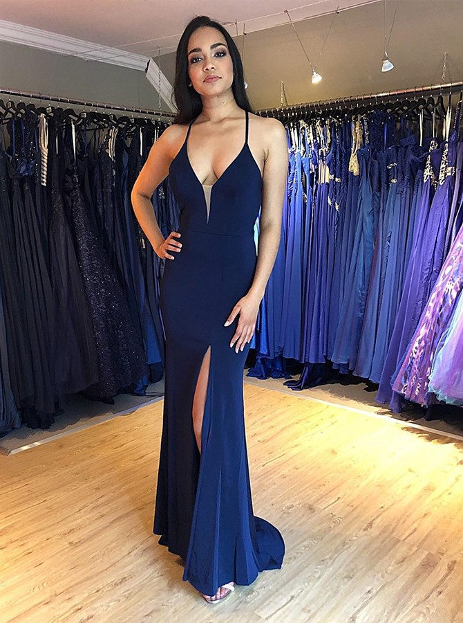 Mermaid Spaghetti Straps Floor-Length Navy Blue Prom Dress with Split-Front