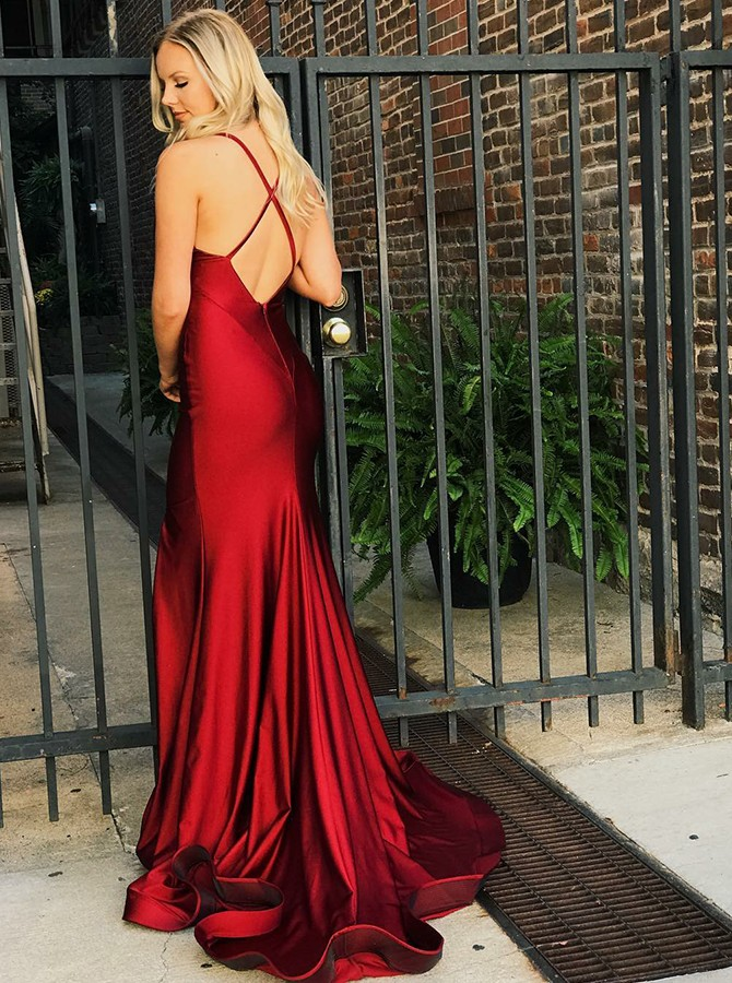 Mermaid Spaghetti Straps Long Bungundy Prom Dress with Split