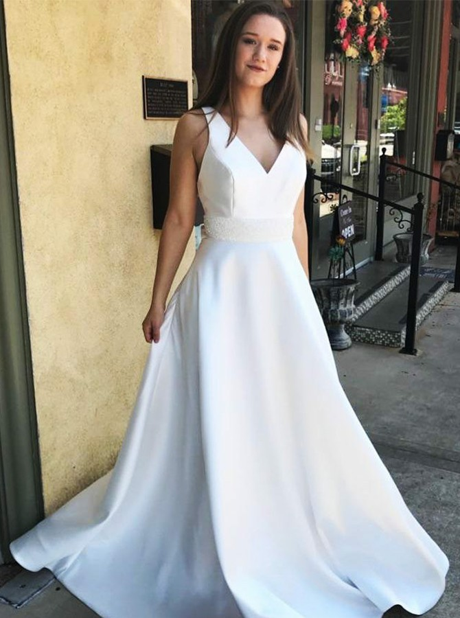 A-Line V-Neck Sweep Train White Prom Dress with Beading
