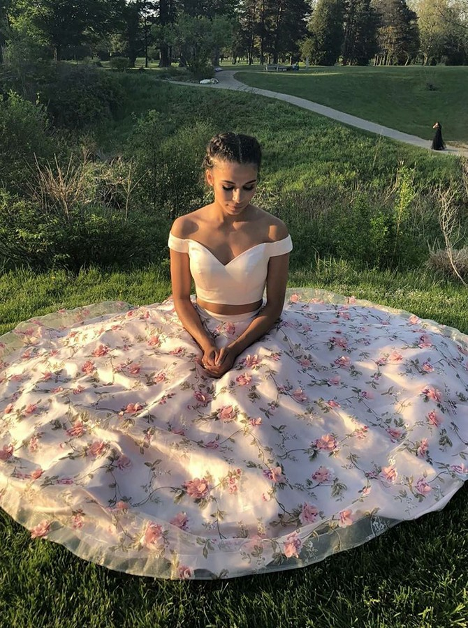 Two Piece Off-the-Shoulder Floor-Length Pink Prom Dress with Appliques