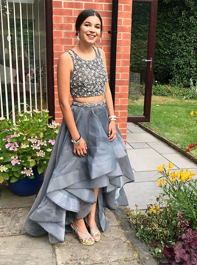 Two Piece High Low Round Neck Silver Prom Dress with Beading