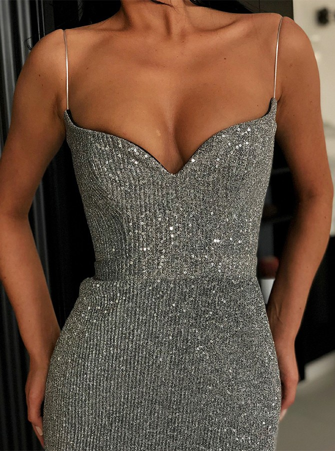 Mermaid Spaghetti Straps Floor Length Grey Sequined Prom/Evening Dress