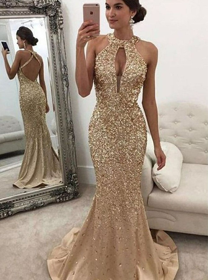 Mermaid Round Neck Sweep Train Prom/Evening Dress with Keyhole