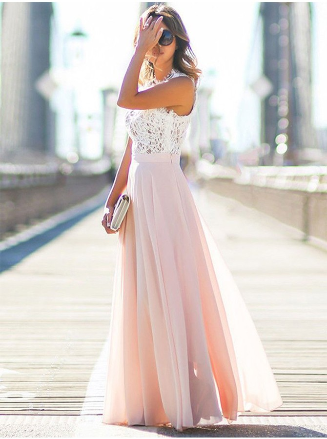 A-Line Round Neck Floor-length Prom Dress with Lace