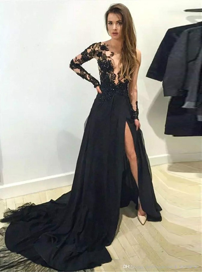A-Line Bateau Long Sleeves Sweep Train Prom Dress with Split Beading