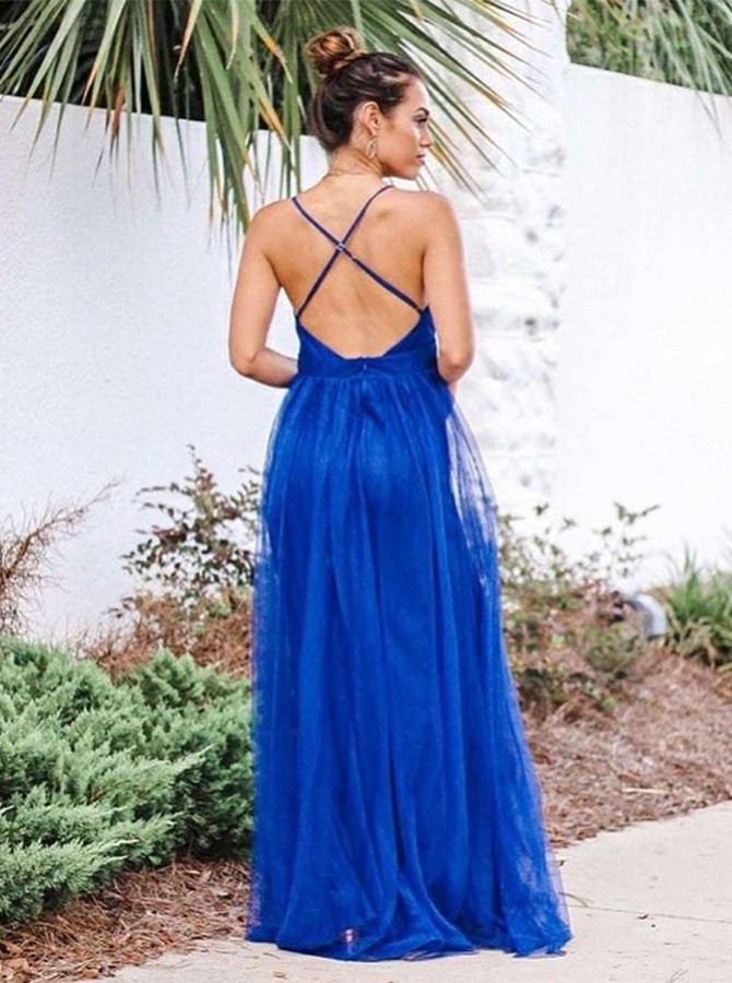 A-Line Spaghetti Straps Floor Length Prom Dress with Split